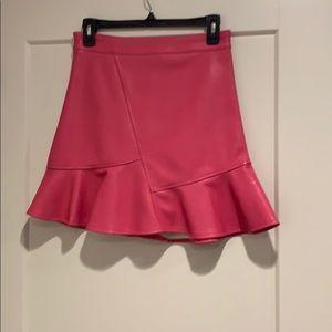 Storets hot pink PVC mini skirt